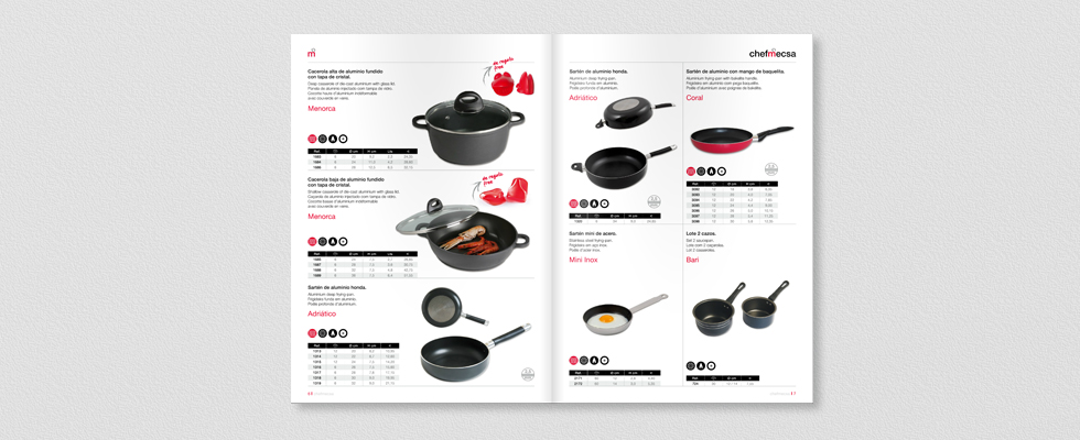 Diseño Interior del catálogo 2015 para ChefMecsa sartenes2