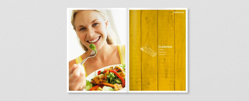 Diseño Interior del catálogo 2015 para ChefMecsa cubiertos